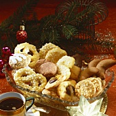 Christmas biscuits in a crystal bowl