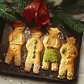Saxon gingerbread men on a baking tray