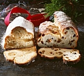 Marzipan stollen and Christmas stollen with raisins