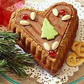 Heart-shaped spiced cake