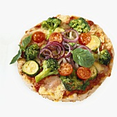 A vegetable pizza