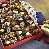 Chocolates in red chocolate box