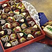 Chocolates in red chocolate box