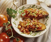 Two bruschette (Toast topped with tomato, garlic & basil)