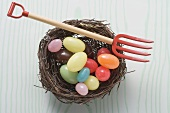 Coloured sweets in an Easter nest