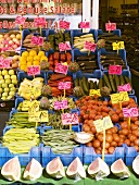 Fruit and vegetables with prices in crates
