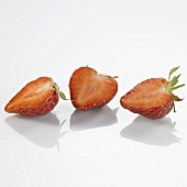 Three strawberry halves