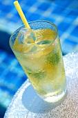 A glass of iced lemon grass tea