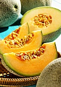 Cantaloupe melons, whole and sliced