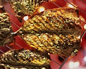 Grilled mackerel with herbs and garlic