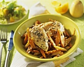 Chicken breast fillets and vegetables with sesame seeds