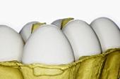 White eggs in an egg box