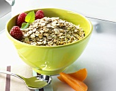 Organic six grain flakes in a bowl