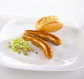 Sausages (Bratwurst) with bread roll