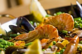 Paella with prawns, peas and octopus (detail)