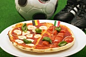 Pizza with the flags of Belgium and Italy