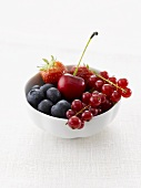Berries and one cherry in a white china bowl