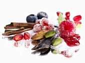 Stiff life: sugar, berries, pistachios, almonds, cinnamon etc.