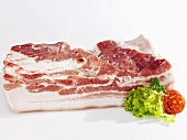 Raw belly pork