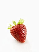 One strawberry on white wooden surface
