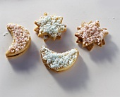 Moon & star biscuits with grated coconut & chocolate cream