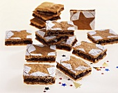 Gingerbread slices with chocolate and nut filling