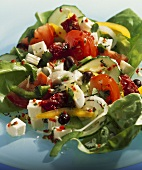 Shepherd's salad with dried tomatoes, olives and feta