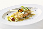 Salmon trout with piped potato