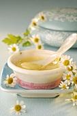 Chamomile cream and fresh chamomile flowers