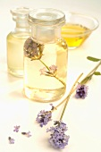 Lavender with apothecary bottles