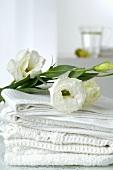 weiße Handtücher dekoriert mit Lisianthusblumen