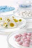 Kamillenblüten und Tabletten in Schälchen