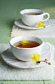 St. John's wort tea in two cups