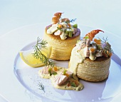 Vol-au-vents filled with fish ragout