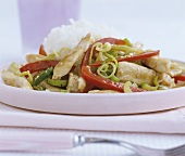 Chicken and vegetable stir-fry with rice