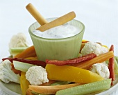 Crudités with yoghurt dip