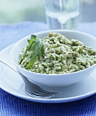 Watercress risotto with chicken breast
