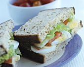 Boiled egg and salad sandwich in wholemeal bread