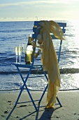 Two glasses of sparkling wine with bottle on chair by sea