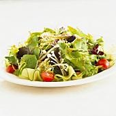 Mixed salad with enokitake mushrooms