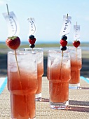 Berry cocktails with place cards on cocktail sticks