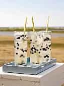 Lemongrass Splash cocktail with blueberries on the beach