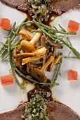 Garnish of chanterelles and samphire