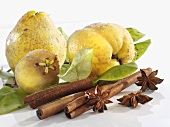 Quinces, cinnamon sticks and star anise