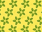 Basil leaves on yellow background (composition)
