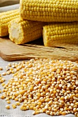 Corn kernels, cereal ears and cobs of corn