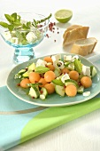 Melon and cucumber salad with feta and mint