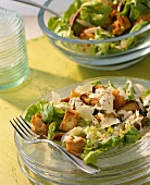Caesar salad with garlic dressing and croutons