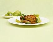 Brathähnchen mit grünem Salat