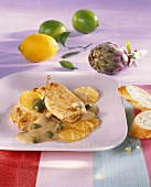 Chicken breast with lemons and caper sauce